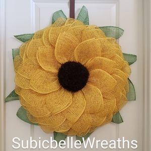 Handmade Large Yellow Sunflower Wreath